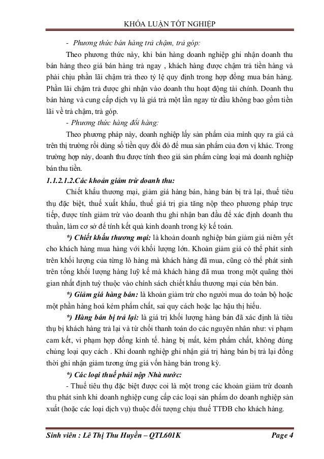 KHÓA LUẬN TỐT NGHIỆP Sinh viên : Lê Thị Thu Huyền – QTL601K Page 4 - Phương thức bán hàng trả chậm, trả góp: Theo phƣơng t...