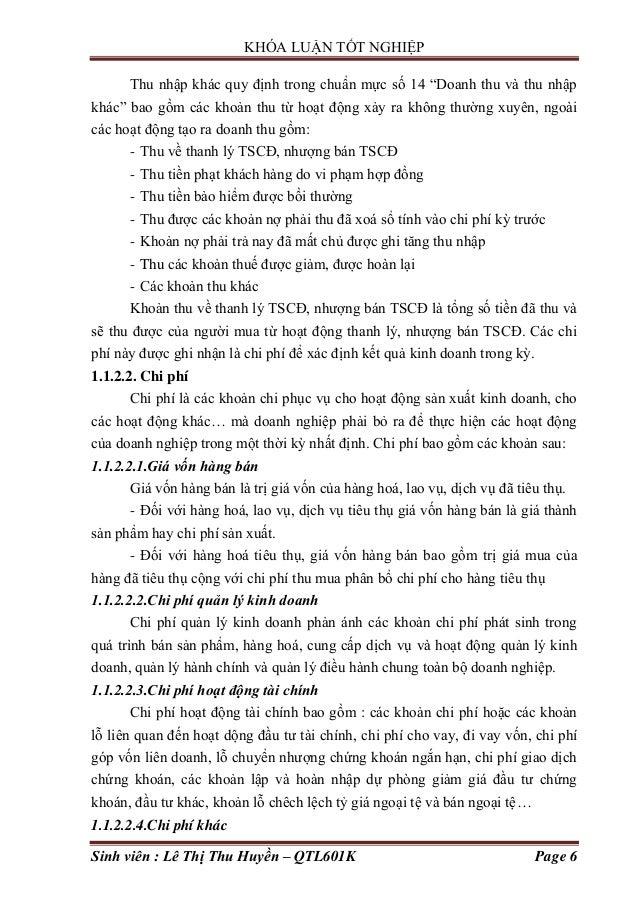 """KHÓA LUẬN TỐT NGHIỆP Sinh viên : Lê Thị Thu Huyền – QTL601K Page 6 Thu nhập khác quy định trong chuẩn mực số 14 """"Doanh thu..."""