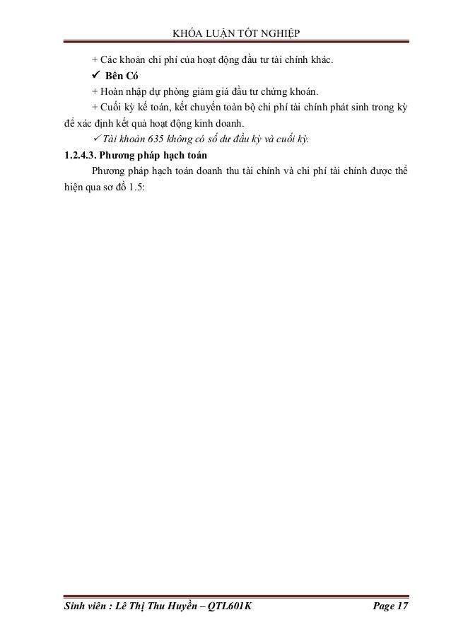 KHÓA LUẬN TỐT NGHIỆP Sinh viên : Lê Thị Thu Huyền – QTL601K Page 17 + Các khoản chi phí của hoạt động đầu tƣ tài chính khá...
