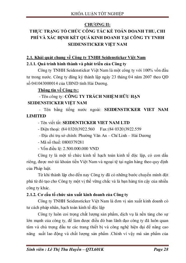 KHÓA LUẬN TỐT NGHIỆP Sinh viên : Lê Thị Thu Huyền – QTL601K Page 28 CHƢƠNG II: THỰC TRẠNG TỔ CHỨC CÔNG TÁC KẾ TOÁN DOANH T...