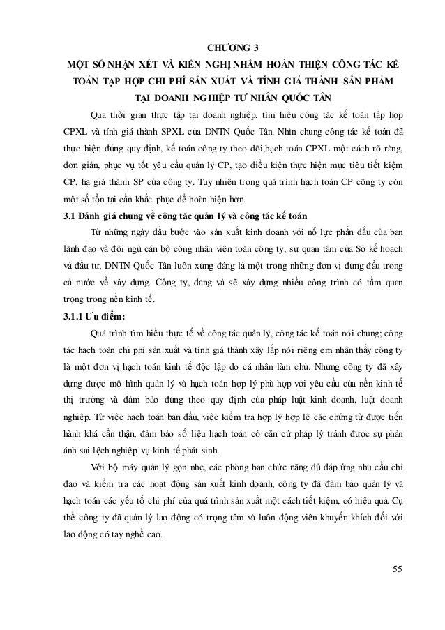 55 CHƯƠNG 3 MỘT SỐ NHẬN XÉT VÀ KIẾN NGHỊ NHẰM HOÀN THIỆN CÔNG TÁC KẾ TOÁN TẬP HỢP CHI PHÍ SẢN XUẤT VÀ TÍNH GIÁ THÀNH SẢN P...