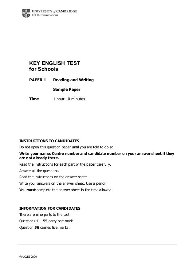 Key English Test For Schools Readingwritingsample