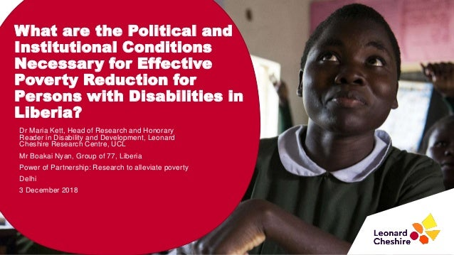 What are the Political and Institutional Conditions Necessary for Effective Poverty Reduction for Persons with Disabilitie...