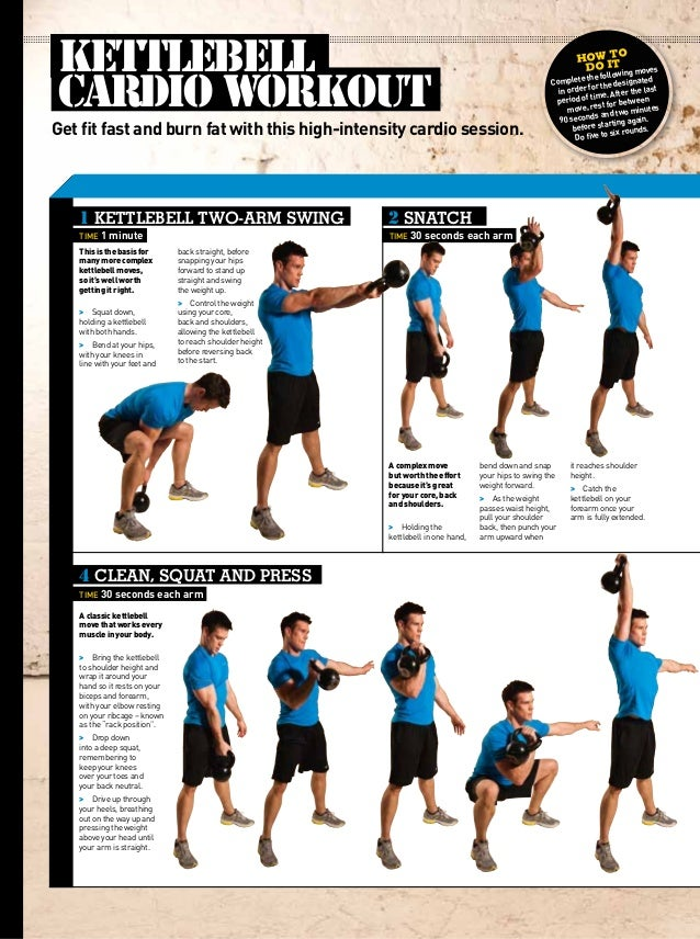 Awesome Fat Burning Kettlebell Cardio Workout Routine Menus Fitness Twoarm Swing Time Minute Clean With Gym Chart For Back Men
