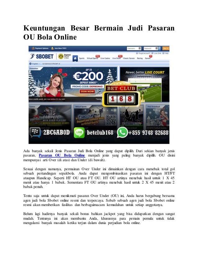 Keuntungan Besar Bermain Judi Pasaran Ou Bola Online