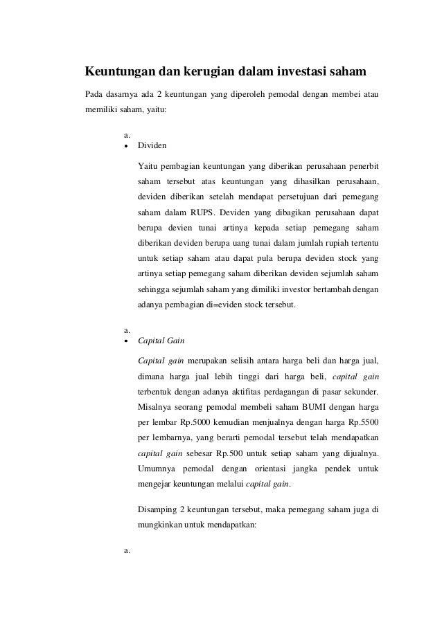 Keuntungan dan kerugian dalam investasi saham | Capital Market Education's by Coki