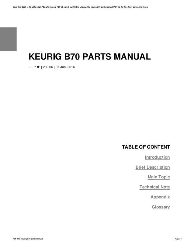 Keurig B70 Parts Manual