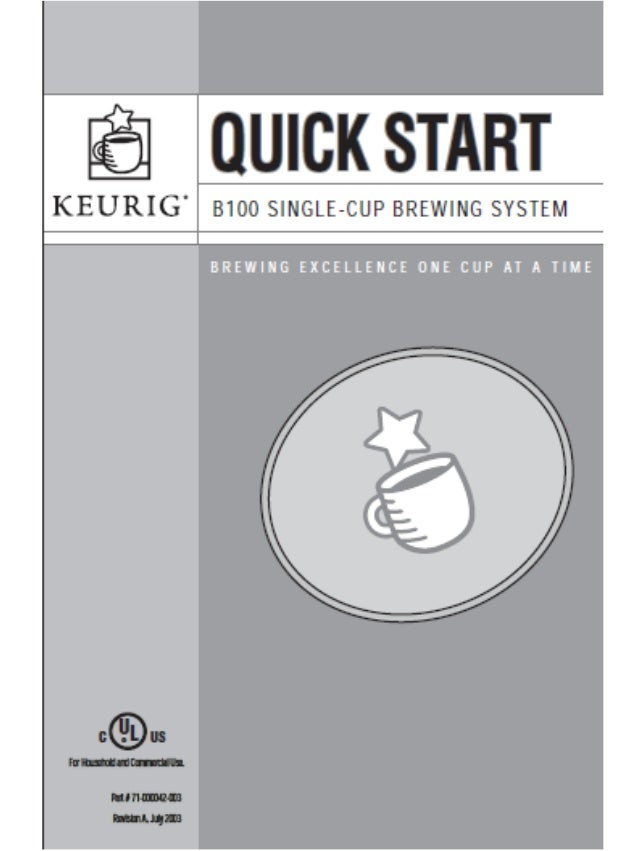 keurig manual b100 quick start guide rh slideshare net Keurig My K-Cup Reusable Coffee Filter Keurig Coffee Station