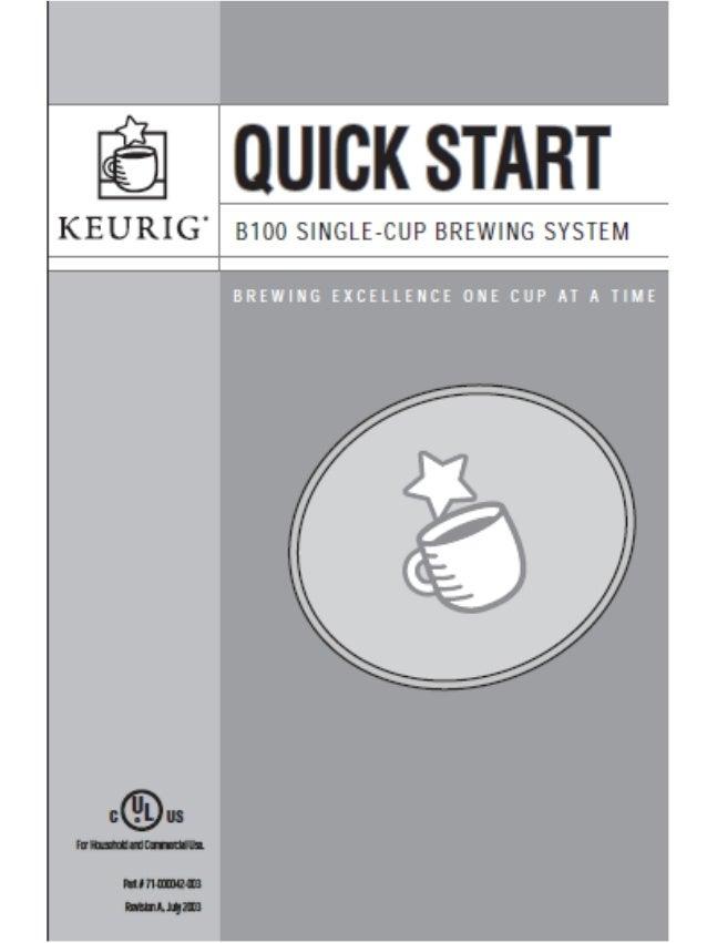 keurig manual b100 quick start guide rh slideshare net Keurig B60 Coffee Maker Problems Discount Keurig B60 Coffee Maker