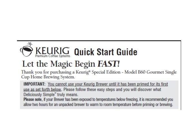 keurig manual special edition b60 quick start guide rh slideshare net keurig manual b30 keurig manual b60