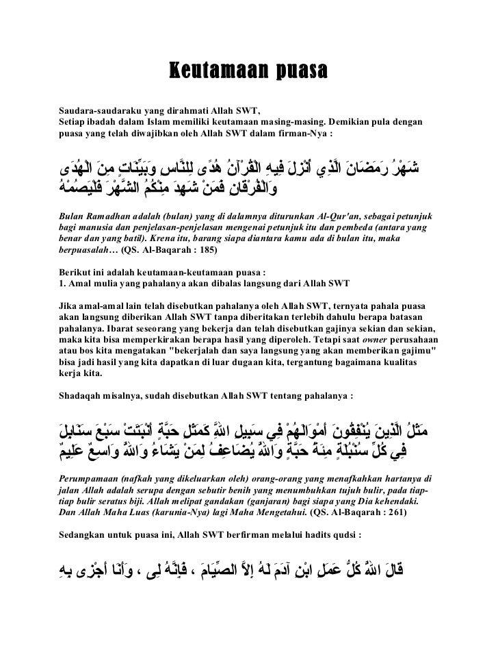Keutamaan puasaSaudara-saudaraku yang dirahmati Allah SWT,Setiap ibadah dalam Islam memiliki keutamaan masing-masing. Demi...