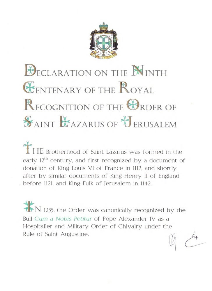 DECLARATION ON THE NINTHEENTENARY OF THE ROYALRECOGNITION OF THE IDRDER OF&AINT ILLAZARUS OF+J- ERUSALEMt   HEBrotherhood ...