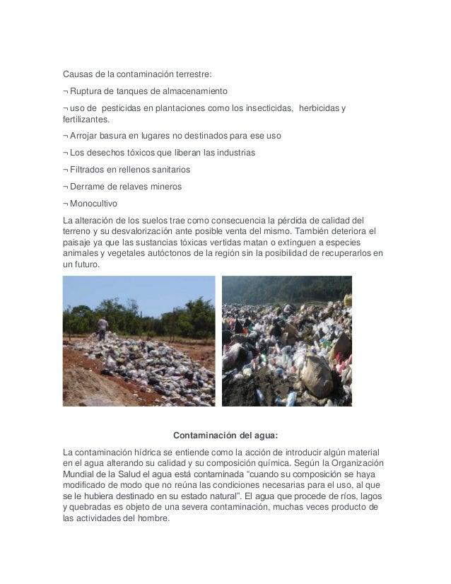 Causas de la contaminación terrestre: ¬ Ruptura de tanques de almacenamiento ¬ uso de pesticidas en plantaciones como los ...