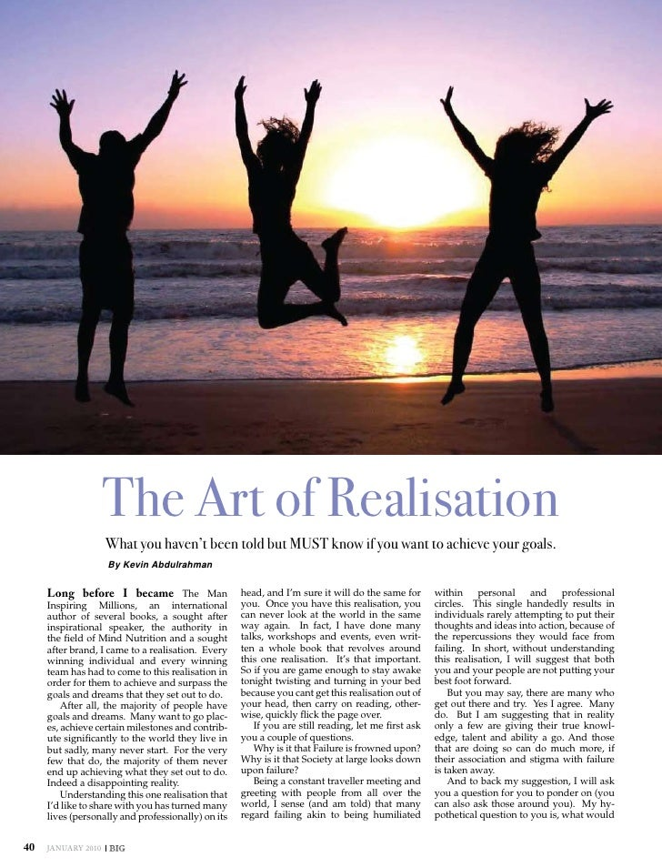 inspiration                     The Art of Realisation                     What you haven't been told but MUST know if you...