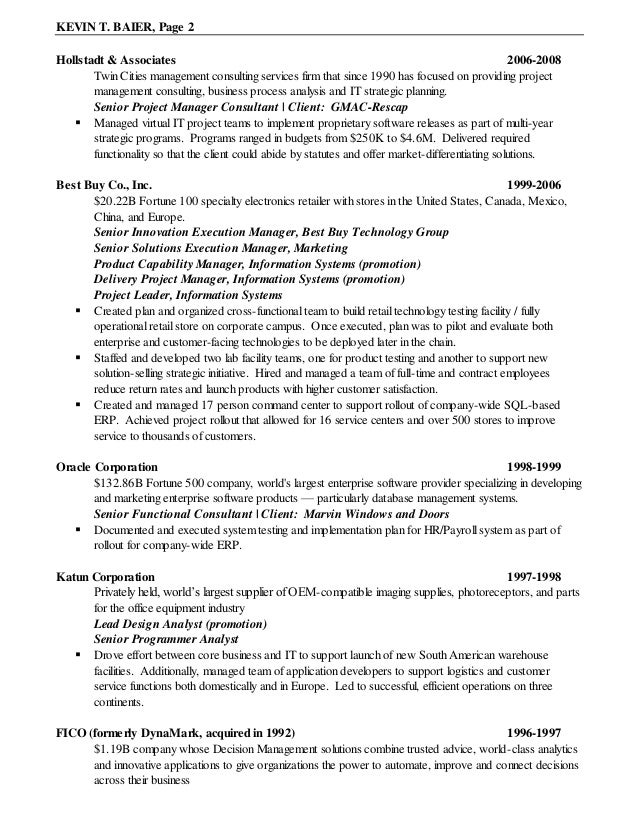 kevin baier chronological resume 2010 10 26