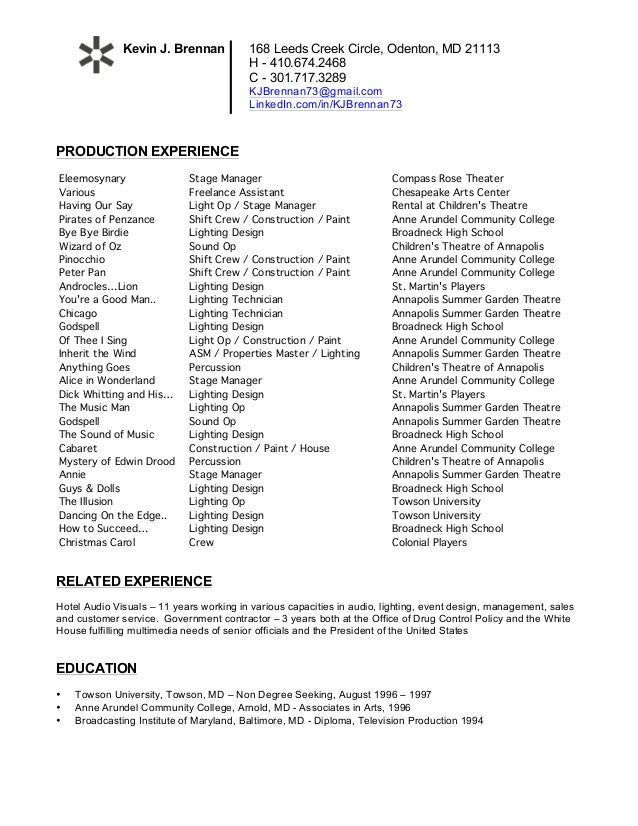 Theatre Resume. 168 Leeds Creek Circle, Odenton, MD 21113 H   410.674.2468  C
