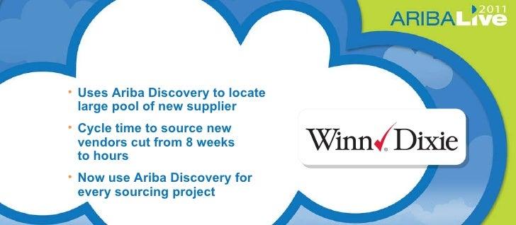 Winn Dixie <ul><li>Uses Ariba Discovery to locate large pool of new supplier </li></ul><ul><li>Cycle time to source new ve...