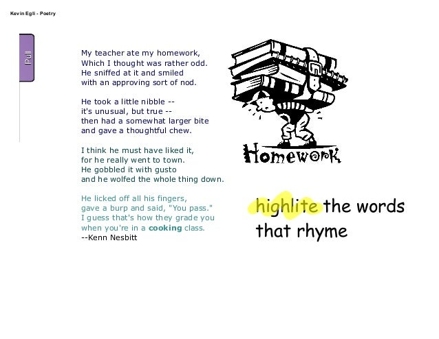 my teacher ate my homework poem kenn nesbitt