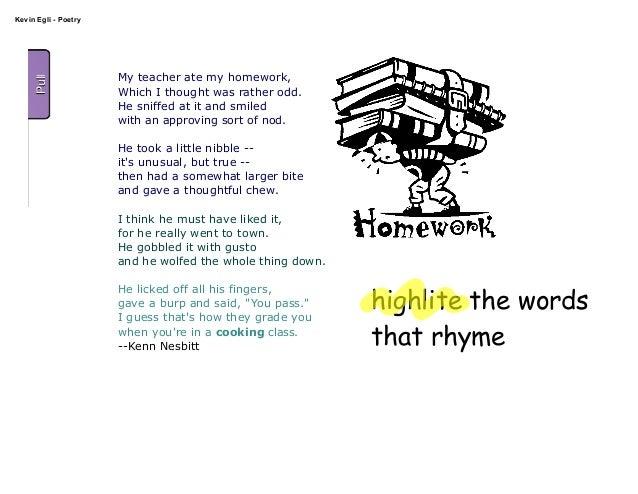 my teacher ate my homework poem kenn nesbitt