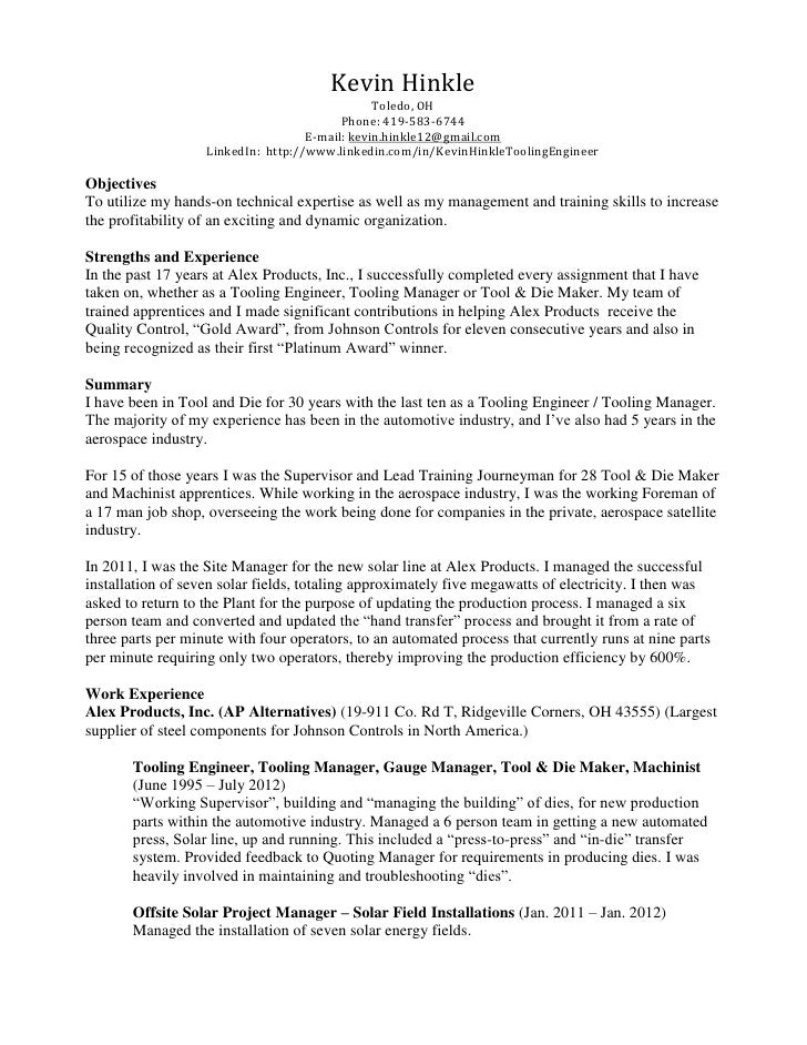tool and die maker resume examples - Template