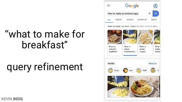 """KEVIN INDIG """"what to make for breakfast"""" recipe in SERPs"""
