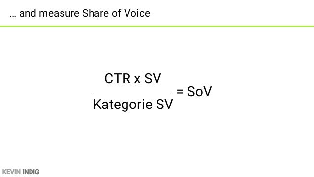 KEVIN INDIG Add a SERP Feature Factor *SERP-Feature Faktor = SoV SF* x CTR x SV Kategorie SV