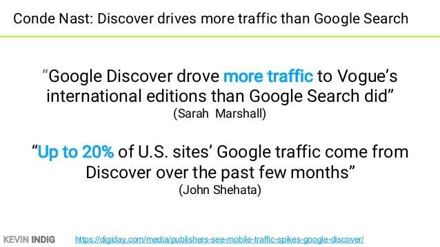 KEVIN INDIG Export Discover from Search Console and compare to organic mobile traffic