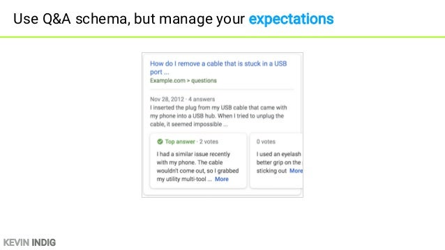 KEVIN INDIG Use Q&A schema, but manage your expectations