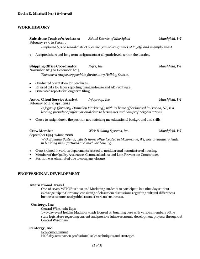 Kevin Mitchell Resume And References