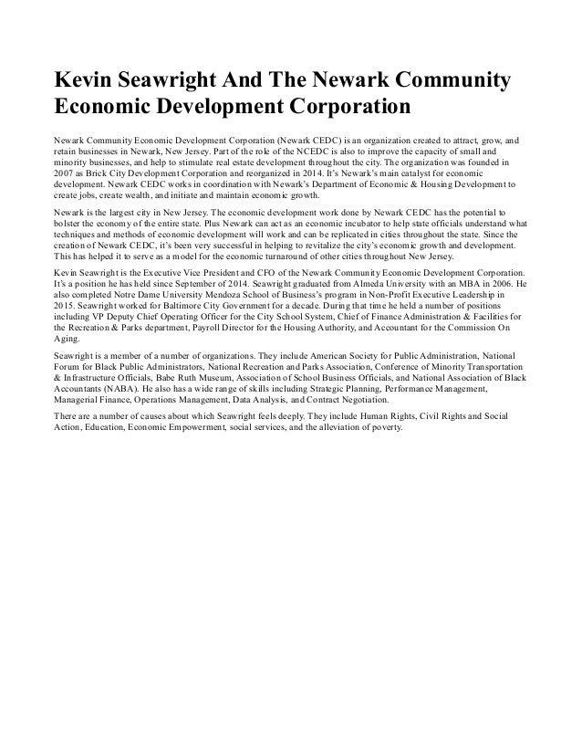 Kevin Seawright And The Newark Community Economic Development Corporation Newark Community Economic Development Corporatio...