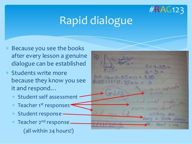  Because you see the books after every lesson a genuine dialogue can be established  Students write more because they kn...