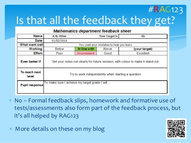  No – Formal feedback slips, homework and formative use of tests/assessments also form part of the feedback process, but ...