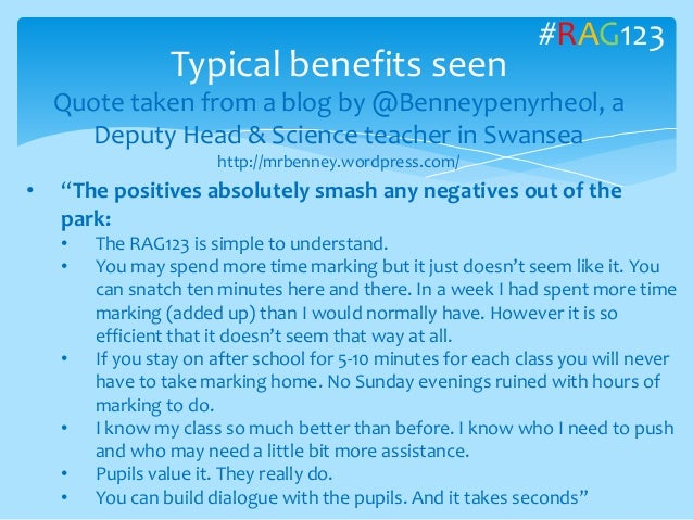 Typical benefits seen Quote taken from a blog by @Benneypenyrheol, a Deputy Head & Science teacher in Swansea http://mrben...