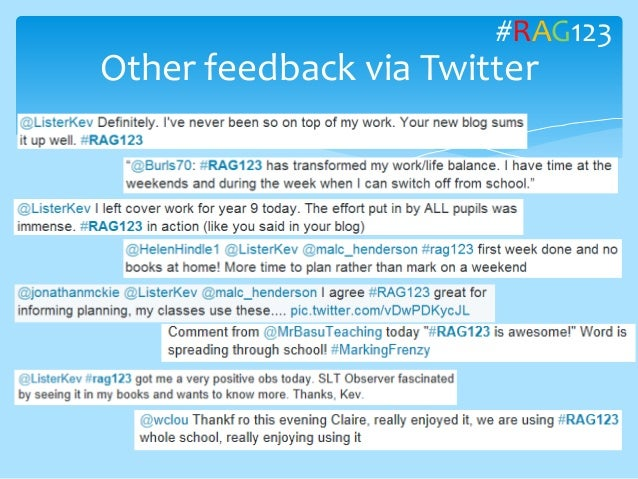 Other feedback via Twitter #RAG123