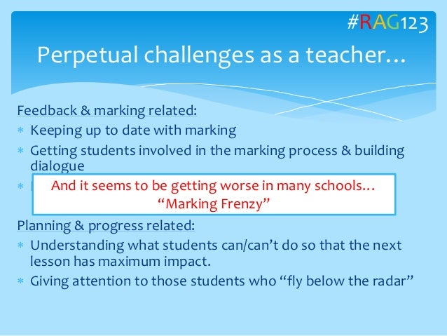 Feedback & marking related:  Keeping up to date with marking  Getting students involved in the marking process & buildin...