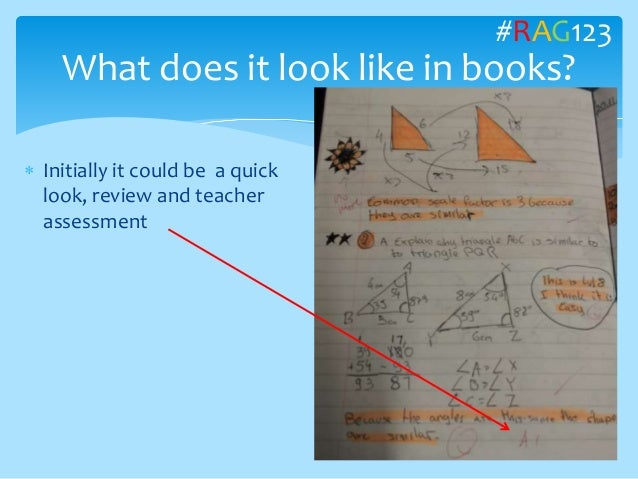  Initially it could be a quick look, review and teacher assessment What does it look like in books? #RAG123