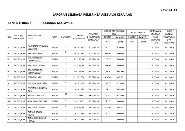 KEW.PA-17 LAPORAN LEMBAGA PEMERIKSA ASET ALIH KERAJAAN KEMENTERIAN : PELAJARAN MALAYSIA BIL JABATAN/ BAHAGIAN KETERANGAN A...