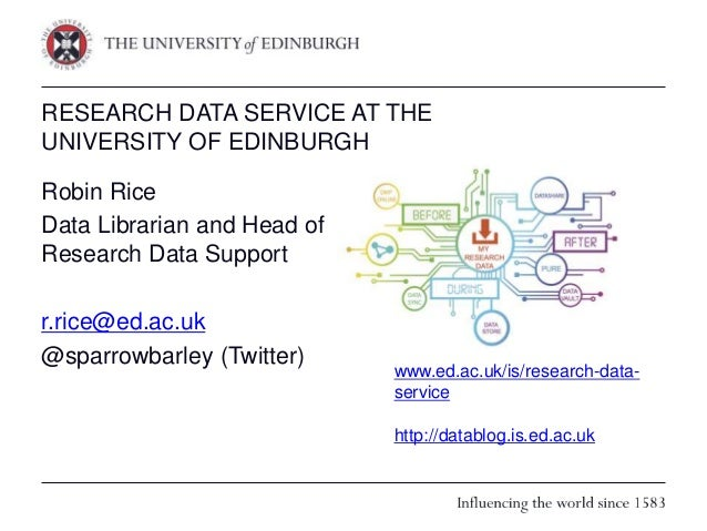 RESEARCH DATA SERVICE AT THE UNIVERSITY OF EDINBURGH Robin Rice Data Librarian and Head of Research Data Support r.rice@ed...