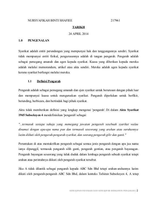 Kewajipan fidusiari dan statutori pengarah Slide 2