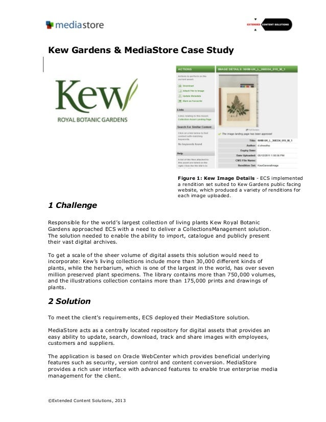 ©Extended Content Solutions, 2013Kew Gardens & MediaStore Case Study1 ChallengeResponsible for the world's largest collect...
