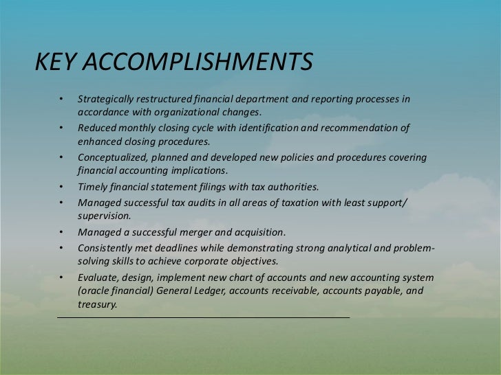 work accomplishment examples