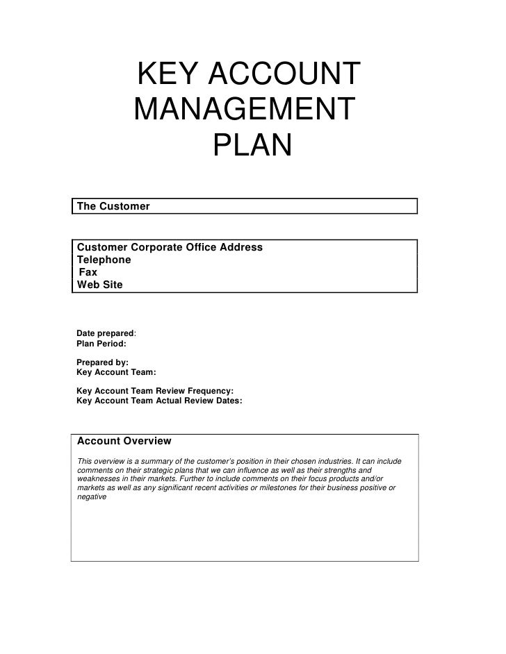 Key account management plan for Client management plan template