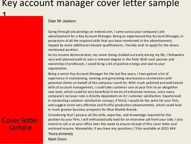 sample account manager cover letter