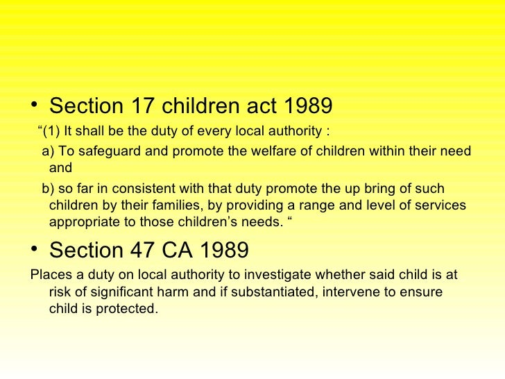Section 17 Of The Children Act 1989 Section 17 Of The