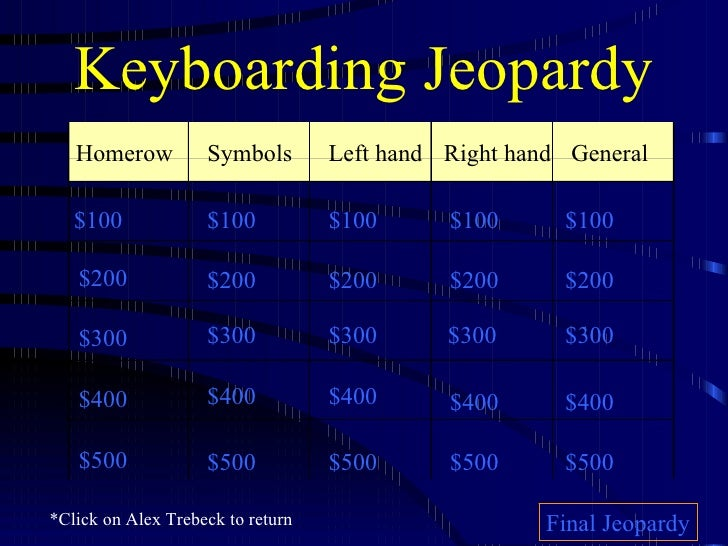 Keyboarding Jeopardy Left hand Right   hand General $100 $200 $300 $400 $500 $100 $100 $100 $100 $200 $200 $200 $200 $300 ...