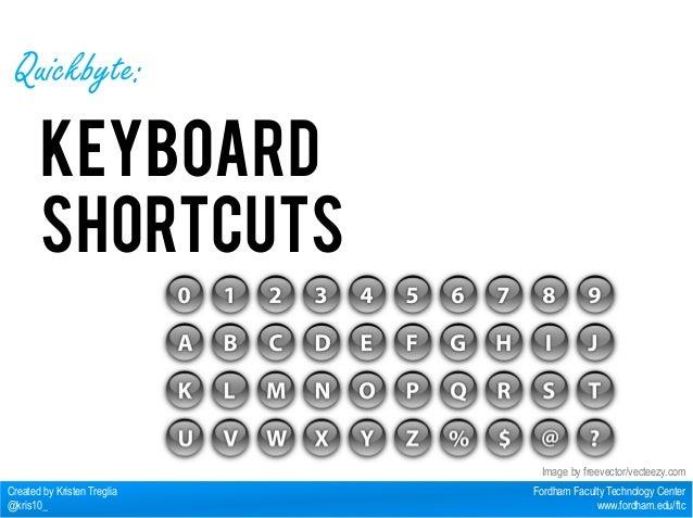 Fordham Faculty Technology Center  www.fordham.edu/ftc  Quickbyte:  Keyboard  Shortcuts  Created by Kristen Treglia  @kris...