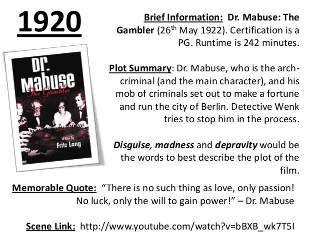 1920  Brief Information: Dr. Mabuse: The Gambler (26th May 1922). Certification is a PG. Runtime is 242 minutes. Plot Summ...