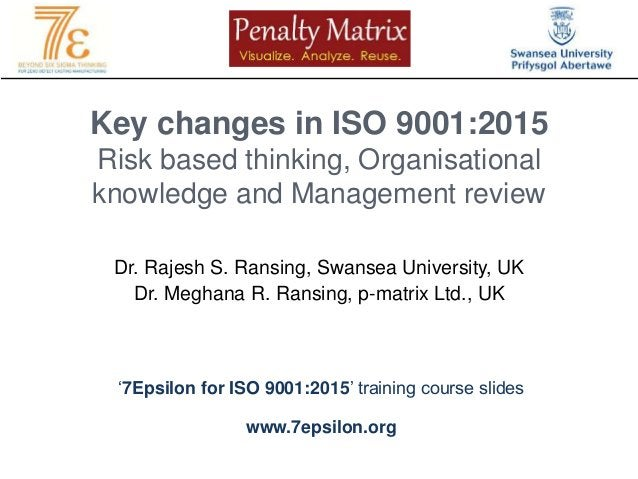 Key changes in ISO 9001:2015 Risk based thinking, Organisational knowledge and Management review Dr. Rajesh S. Ransing, Sw...