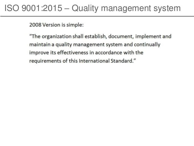 ISO 9001:2015 – Quality management system