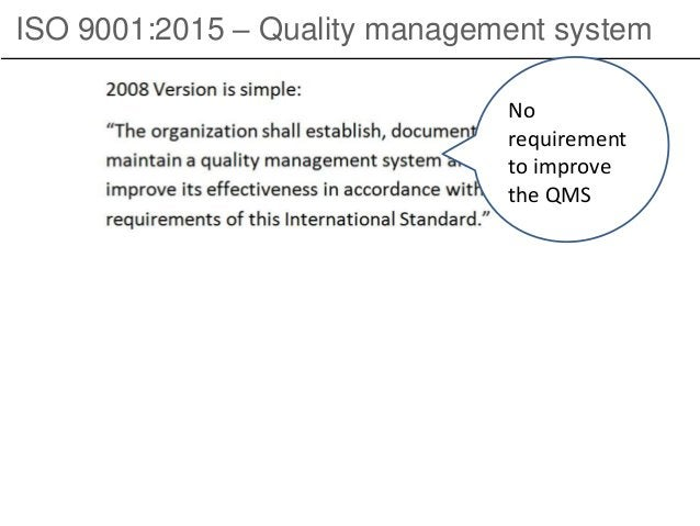 ISO 9001:2015 – Quality management system No requirement to improve the QMS